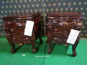 2 X Chunky Dark Mahogany French Style Rococo Bedside Cabinets/nightstand
