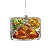 Darice Christmas Glass Ornament Tv Dinner 5 X 4 Inches W