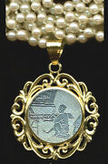 Heavy 14k Fancy Round Pendant Scene Antique Chinese Mother Oand039pearl Game Counter