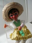 Vintage Mexican Marionette String Puppet With Straw Hat Toy Latin Mint Condition