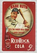 Restaurant Lounge Tin Signs Babe Ruth Red Rock Cola Tin Metal Sign