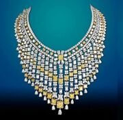 Solid 925 Sterling Silver Necklace Yellow Radiant Huge Highend Royal Jewelry