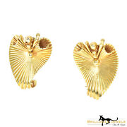 Estate Yellow Gold Fluted Leaf Swirl Statement Clip On Earrings