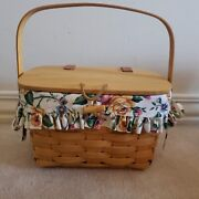 Longaberger 1995 Small Purse Basket Combo Floral Liner - Gently Used