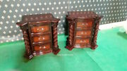 2 X Mahogany Tudor Style Rococo Bedside Cabinets Nightstand With Twisted Columns