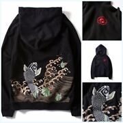 Menand039s Chinese Style Embroidery Carp Hoodie Pullover Sweatshirt Jumper Hoody Coat