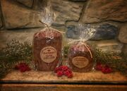 Primitive Country Fall/christmas Cranberry Clove Home Hearth Pillar Cake Candle