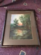 Antique Ca 1922 Katharine Hall Pastel East Texas Country Pond Painting