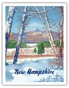 New Hampshire - View Of White Mountain - 1950s Vintage Travel Poster Art Print
