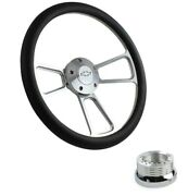 14 Billet Steering Wheel Leather Wrap, Chevy Horn Button, Adapter A01