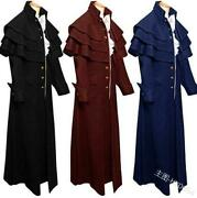 Mens Womens Unisex Stand Collar Middle Ages Trench Outwear Cosplay Overcoat New