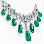 Green Cabochon Drop 925 Sterling Silver Necklace White Round Art Deco Style