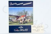 Cessna Vintage 190 And 195 1940s New Color Factory Fold Out Brochure Rare Oem Gift