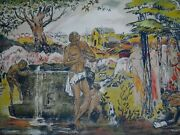 Marie Macpherson Signed Silkscreen Painting Of People Titled Spring Phantasy