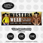 Western Wear Banner Clothing Sign Vinyl Apparel Display Leather Poster Store Hat