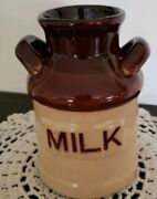 Vintage Ceramic 5.5 Tall Milk Cream Can Container With Milk Written On Front