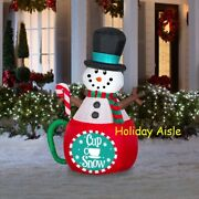 5 Ft Animated Snowman Cup Of Snow Airblown Lighted Yard Inflatable