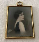 Miniature Portrait Painting Of A Lady Signed Artist John Ramsier Brass Frame