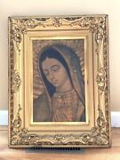 And039and039our Lady Of Guadalupeand039and039 Virgen De Guadalupe Painting Shadow Box Gilt Frame Old