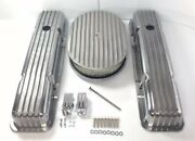Small Block Chevy Finned Short Valve Covers With 12'' Finned Air Cleaner Sbc
