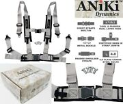 Aniki Gray 4 Point Aircraft Buckle Seat Belt Harness W/ Ultra Shoulder Pad New