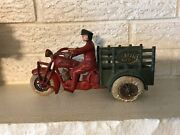 Antique Vintage Hubley Cast Iron Indian Motorcycle Police Traffic Car