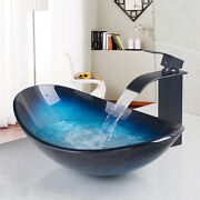 Blue Tempered Glass Vessel Bathroom Sinkandwaterfall Faucet Pop Up Drain Combo Tap