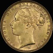 1887 Melbourne Young Head Sovereign Choice Unc Pcgs Ms63