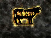 Bbq Barbecue Cow Led Wall Sign Light Bright No Neon Wire Sign Metall
