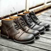 Mens Real Leather Lace Up Military Army British Style Punk Boots Shoes Chic Size