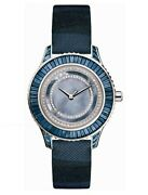 925 Sterling Silver Women's Wrist Watch Simulated Diamond Blue Baguette Round