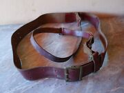 Vtg Old Wwii Ww2 Military German Officer 49.2and039and039 Double Claw Buckle Leather Belt