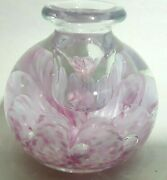 Paperweight Gibson Vintage Glass Candle Holder Pink White Swirls W/ Bubbles 1993
