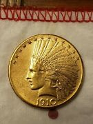 1910-d Eagle 10 Gold Indian Solid Gem Nice Luster Super Nice Coin