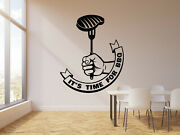 Vinyl Wall Decal Letter It's Time Bbq Steak Barbecue Catering Stickers G1554
