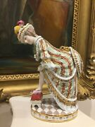 Rare Russian Moscow Gardner Hand Painted And Gilt Porcelain Figurine H-20cm