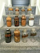 Large Selection Of Gold Label Glass Chemist Apothecary Display Jars / Bottles