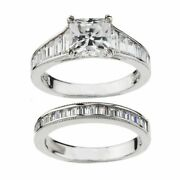 3.25 Ct Baguette Cut Simulated Diamond 2-pc. Ring Set In 10k White Gold Over