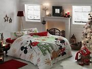 Mickey Minnie Mouse Disney Cotton Duvet Quilt Cover Set Bedding New Year Queen