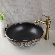 Bathroom Artistic Brass Vessel Sink Waterfall Faucet With Pop-up Drain Combo