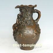 46cm Western Art Deco Bronze Old Man Young Women Girl Father-daughter Cup Bottle