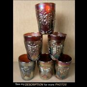 Antique 6 Fenton Amethyst Carnival Glass Tumblers Butterfly And Fern
