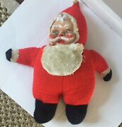 Rushton Santa Claus Stuffed Childs Toy Christmas  Large Rubber Face Vintage
