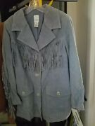 Rare Blue Western/native Suede Fringed Jacket New With Tags Last Discount Final