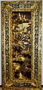 Antique Chinese Wooden Carved Gold-silver Lacquered Figurines Panel Of Warriors