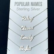 Any Name Plate Necklace Personalized Custom Sterling Silver 925 Pendant Gift