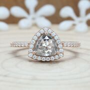 Salt And Pepper Triangle Diamond 14k Solid Gold Ring Engagement Ring Kdn8925