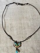 Boho Style Sterling Necklace Pendant On Leather Cord Choker 15-16 Free Shipping