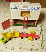 Vintage 1977 Fisher Price Play Family Farm Little People Fence Tractor