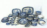 Antique Buffalo Pottery Blue Willow Semi-vitreous Dinnerware Collection 85 Piece